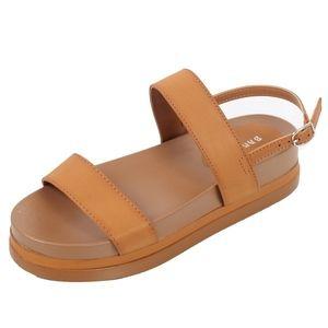 Shoes - Tan 2 Band Slingback Flatform Sandal